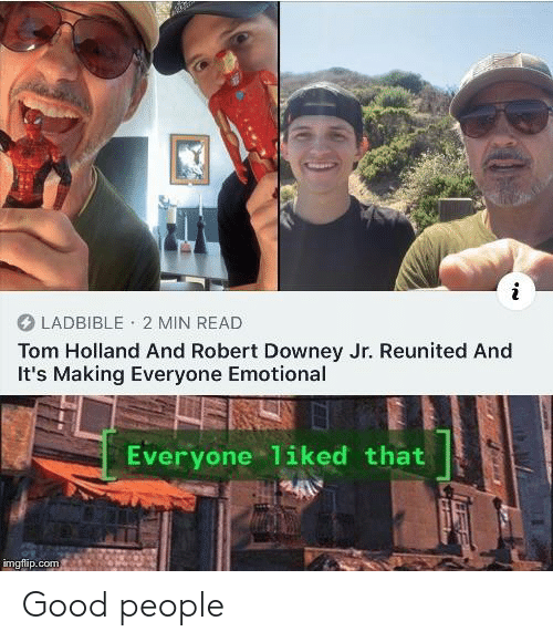 Robert Downey Jr.: LADBIBLE 2 MIN READ  Tom Holland And Robert Downey Jr. Reunited And  It's Making Everyone Emotional  Everyone 1iked that  imgflip.com Good people