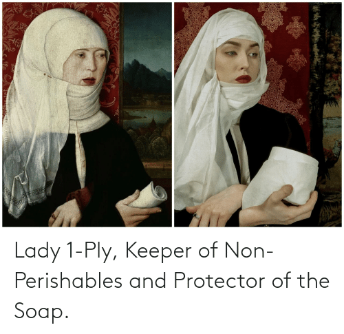 soap: Lady 1-Ply, Keeper of Non-Perishables and Protector of the Soap.
