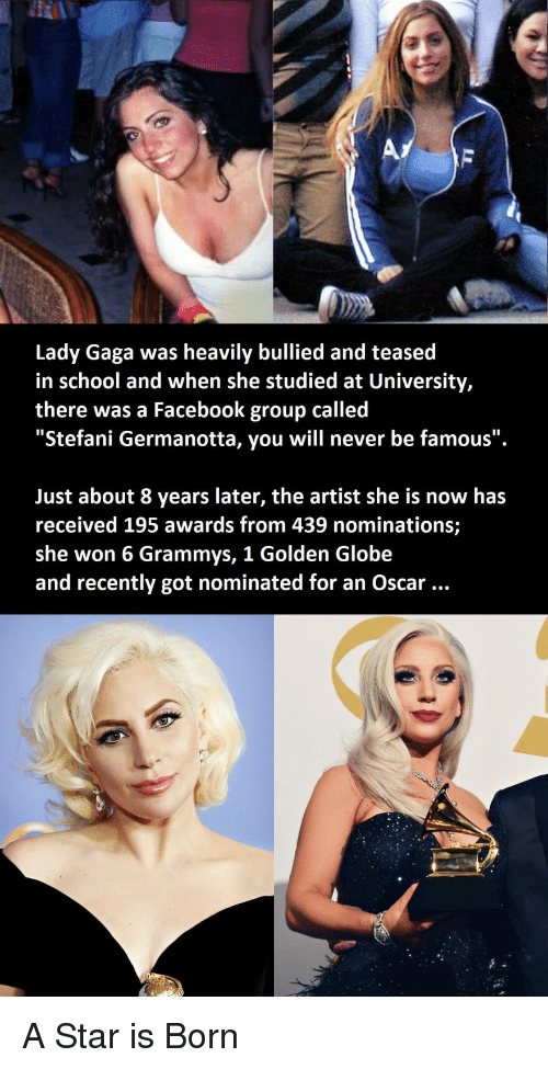 "Grammys: Lady Gaga was heavily bullied and teased  in school and when she studied at University,  there was a Facebook group called  ""Stefani Germanotta, you will never be famous"".  Just about 8 years later, the artist she is now has  received 195 awards from 439 nominations;  she won 6 Grammys, 1 Golden Globe  and recently got nominated for an Oscar A Star is Born"