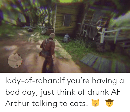 Drunk Af: lady-of-rohan:If you're having a bad day, just think of drunk AF Arthur talking to cats. 🐱     🤠