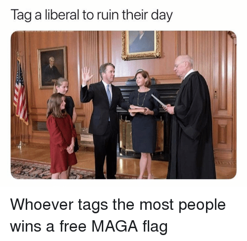 Memes, Free, and 🤖: lag a liberal to ruin their day Whoever tags the most people wins a free MAGA flag