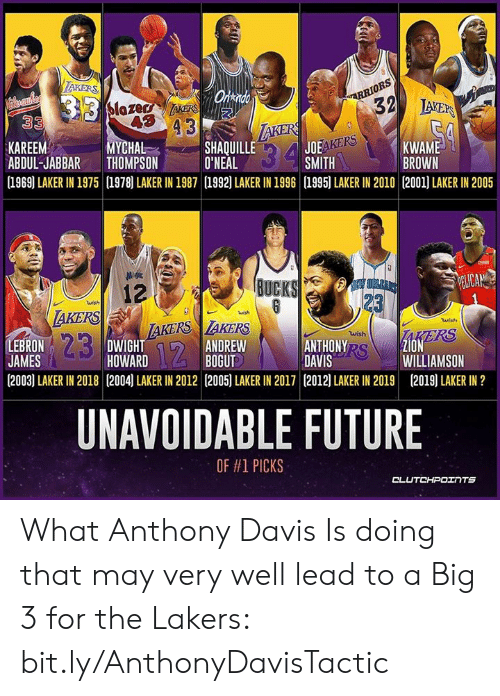 Andrew Bogut: LAKERS  ARRIORS  32  Onkndo  B13 Slozer k  33  IAERS  LAKERS  SHAQUILLE  O'NEAL  (1969] LAKER IN 1975 1978) LAKER IN 1987 1992) LAKER IN 1996 1995) LAKER IN 2010 (2001) LAKER IN 2005  JOEAKERS  SMITH  KAREEM  ABDUL-JABBAR  MYCHAL  THOMPSON  $34  KWAME  BROWN  BUCKS  EW OPLEI  PELICA  12  AKERS  23  23  wish  wish  LAKERS AKERS  DWIGHT  HOWARD  wish  AKERS  Z1ON  WILLIAMSON  LEBRON  JAMES  wish  ANTHONY RS  DAVIS  ANDREW  BOGUT  12  (2003) LAKER IN 2018 (2004) LAKER IN 2012 [2005) LAKER IN 2017 (2012) LAKER IN 2019  (2019) LAKER IN ?  UNAVOIDABLE FUTURE  OF #1 PICKS  CLUTCHPOINTS  a What Anthony Davis Is doing that may very well lead to a Big 3 for the Lakers: bit.ly/AnthonyDavisTactic