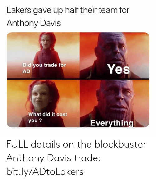 davis: Lakers gave up half their team for  Anthony Davis  Did you trade for  AD  Yes  What did it cost  you?  Everything FULL details on the blockbuster Anthony Davis trade: bit.ly/ADtoLakers