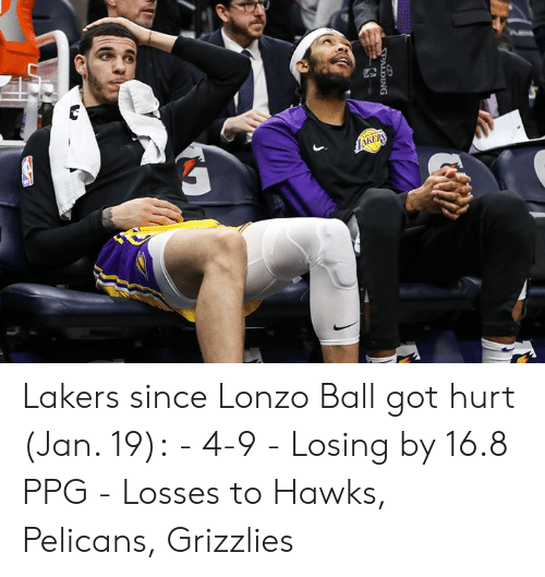 Hawks: Lakers since Lonzo Ball got hurt (Jan. 19):  - 4-9 - Losing by 16.8 PPG - Losses to Hawks, Pelicans, Grizzlies