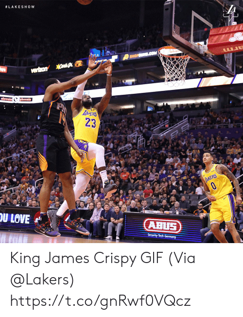 Gif, Los Angeles Lakers, and Memes:  #LAKESHOW  23  ABUS King James Crispy GIF   (Via @Lakers)  https://t.co/gnRwf0VQcz