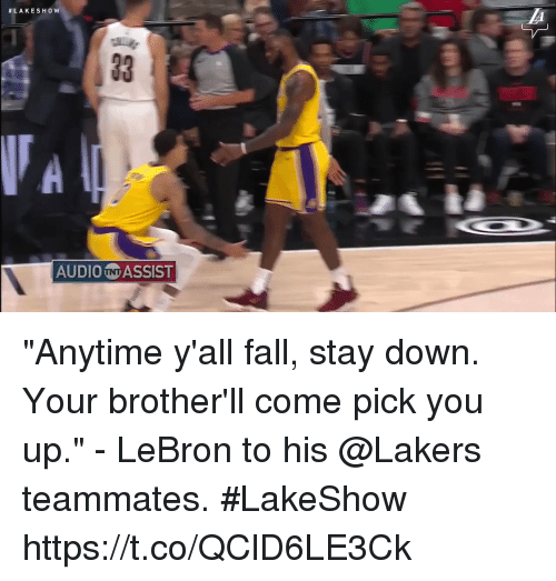 "Fall, Los Angeles Lakers, and Memes:  #LAKESHow  AUDIO N ASSIST ""Anytime y'all fall, stay down. Your brother'll come pick you up."" - LeBron to his @Lakers teammates. #LakeShow    https://t.co/QClD6LE3Ck"