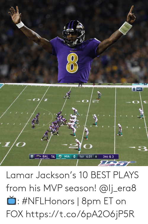 jackson: Lamar Jackson's 10 BEST PLAYS from his MVP season! @lj_era8   📺: #NFLHonors | 8pm ET on FOX https://t.co/6pA2O6jP5R