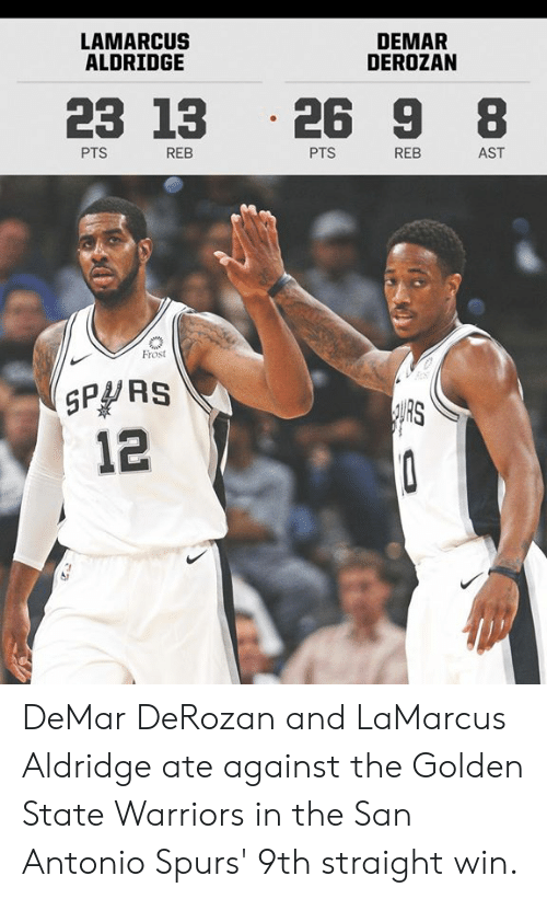 San Antonio: LAMARCUS  ALDRIDGE  DEMAR  DEROZAN  23 13 .26 9 8  PTS  REB  PTS  REB  AST  Frost  SPPRS  12  RS DeMar DeRozan and LaMarcus Aldridge ate against the Golden State Warriors in the San Antonio Spurs' 9th straight win.