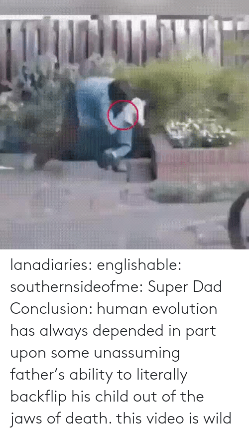 Wild: lanadiaries: englishable:   southernsideofme:  Super Dad  Conclusion: human evolution has always depended in part upon some unassuming father's ability to literally backflip his child out of the jaws of death.    this video is wild