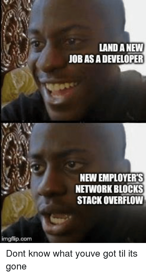 Got, Com, and Gone: LAND A NEWW  OB AS A DEVELOPER  NEW EMPLOYER'S  NETWORK BLOCKS  STACK OVERFLOW  imgflip.com Dont know what youve got til its gone