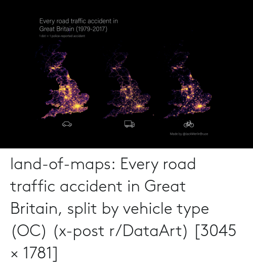 great: land-of-maps:  Every road traffic accident in Great Britain, split by vehicle type (OC) (x-post r/DataArt) [3045 × 1781]