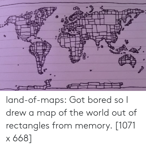 From Memory: land-of-maps:  Got bored so I drew a map of the world out of rectangles from memory. [1071 x 668]