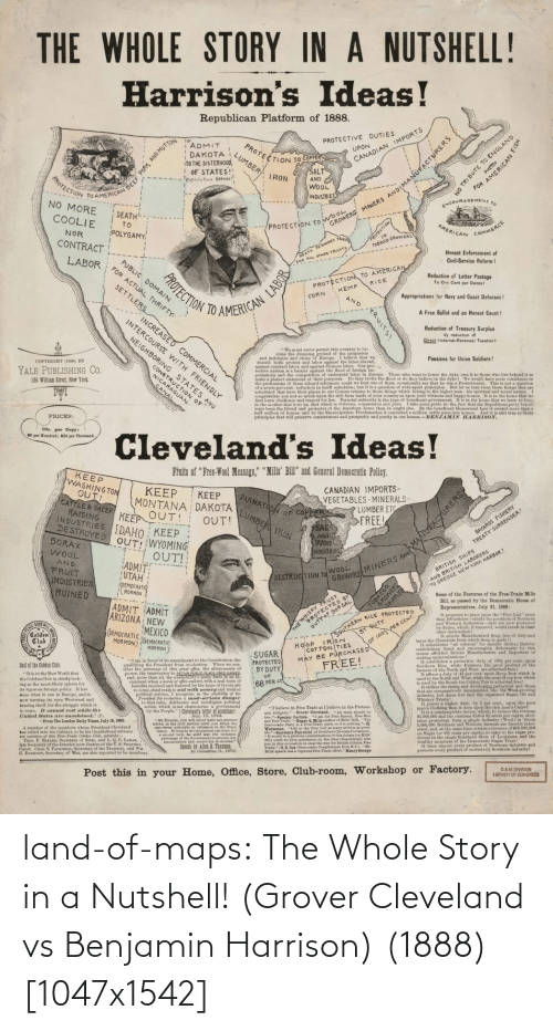 benjamin: land-of-maps:  The Whole Story in a Nutshell! (Grover Cleveland vs Benjamin Harrison) (1888) [1047x1542]