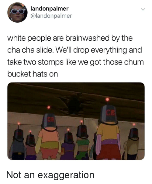 White People Are: landonpalmer  @landonpalmer  white people are brainwashed by the  cha cha slide. We'll drop everything and  take two stomps like we got those chum  bucket hats on  CK Not an exaggeration
