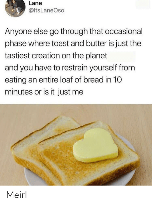 Toast: Lane  @ltsLaneOso  Anyone else go through that occasional  phase where toast and butter is just the  tastiest creation on the planet  and you have to restrain yourself from  eating an entire loaf of bread in 10  minutes or is it just me Meirl