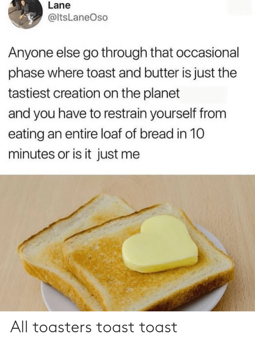 Toast: Lane  @ltsLaneOso  Anyone else go through that occasional  phase where toast and butter is just the  tastiest creation on the planet  and you have to restrain yourself from  eating an entire loaf of bread in 10  minutes or is it just me All toasters toast toast