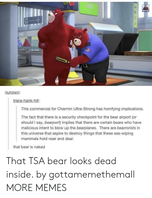 Who Have: LANE  Saierb  nunown:  trans-hank-hill:  This commercial for Charmin Ultra-Strong has horrifying implications.  The fact that there is a security checkpoint for the bear airport (or  should I say, bearport) implies that there are certain bears who have  malicious intent to blow up the bearplanes. There are bearrorists in  this universe that aspire to destroy things that these ass-wiping  mammals hold near and dear.  that bear is naked That TSA bear looks dead inside. by gottamemethemall MORE MEMES