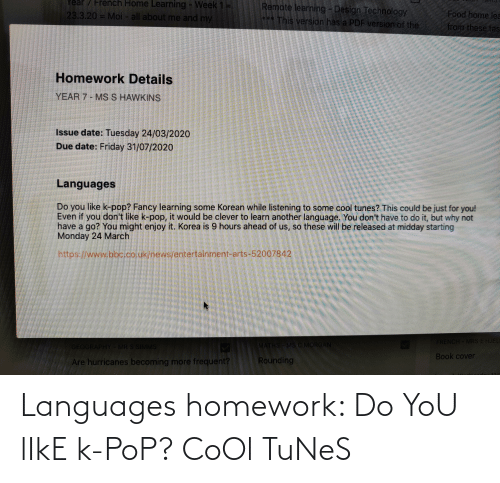 tunes: Languages homework: Do YoU lIkE k-PoP? CoOl TuNeS