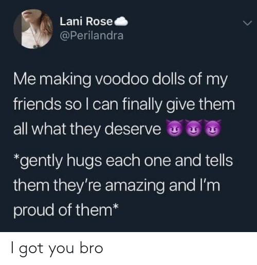 dolls: Lani Rose  @Perilandra  Me making voodoo dolls of my  friends so I can finally give them  all what they deserve  *gently hugs each one and tells  them they're amazing and I'm  proud of them* I got you bro