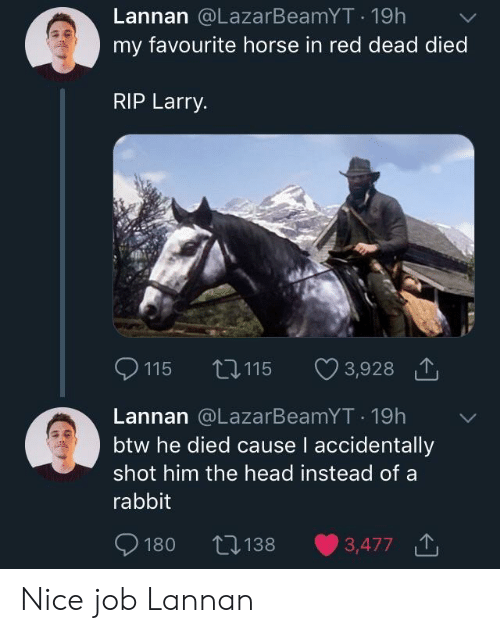 Head, Horse, and Rabbit: Lannan @LazarBeamYT 19h  my favourite horse in red dead died  RIP Larry.  115  115  3,928  Lannan @LazarBeamYT. 19h  btw he died cause l accidentally  shot him the head instead of a  rabbit  ﹀  180 1383,477 Nice job Lannan
