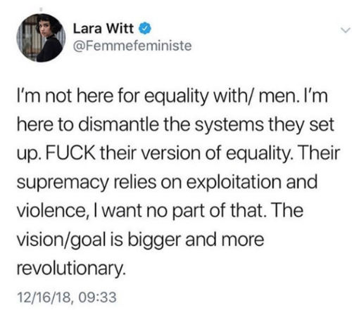 the vision: Lara Witt  @Femmefeministe  I'm not here for equality with/ men. I'm  here to dismantle the systems they set  up. FUCK their version of equality. Their  supremacy relies on exploitation and  violence, I want no part of that. The  vision/goal is bigger and more  revolutionary.  12/16/18, 09:33