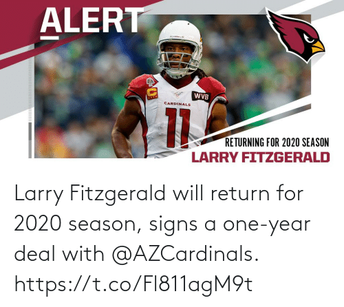 One Year: Larry Fitzgerald will return for 2020 season, signs a one-year deal with @AZCardinals. https://t.co/Fl811agM9t