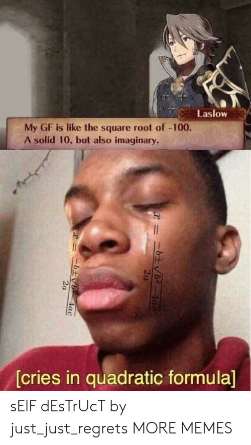 Cries In: Laslow  My GF is like the square root of -100.  A solid 10, but also imaginary.  [cries in quadratic formula]  4ac  2a  =ニ土v6-4ac sElF dEsTrUcT by just_just_regrets MORE MEMES