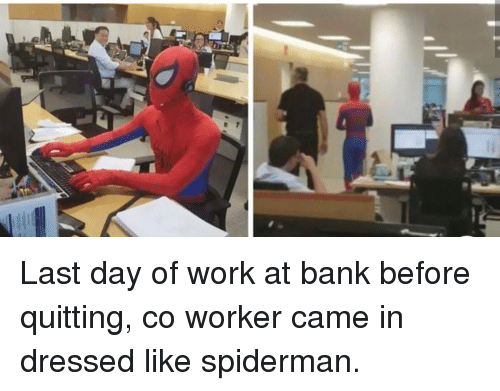 Quitting: Last day of work at bank before quitting, co worker came in dressed like spiderman.