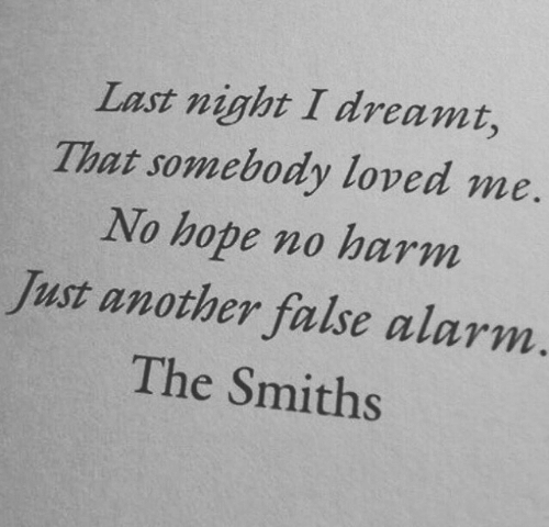 dreamt: Last night I dreamt,  That somebody loved me  No hope no harm  Just another false alarm.  The Smiths