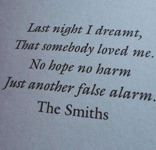 dreamt: Last night I dreamt,  That somebody loved me  No hope no harm  Just another false alarm  The Smiths