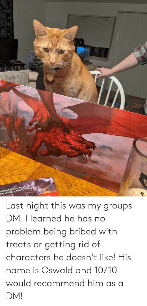 oswald: Last night this was my groups DM. I learned he has no problem being bribed with treats or getting rid of characters he doesn't like! His name is Oswald and 10/10 would recommend him as a DM!