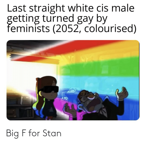 male: Last straight white cis male  getting turned gay by  feminists (2052, colourised) Big F for Stan