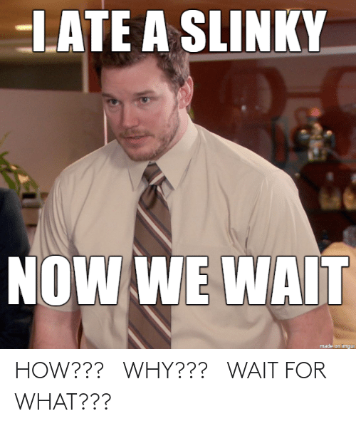 For What: LATE A SLINKY  NOW WE WAIT  made on imgur HOW??? WHY??? WAIT FOR WHAT???