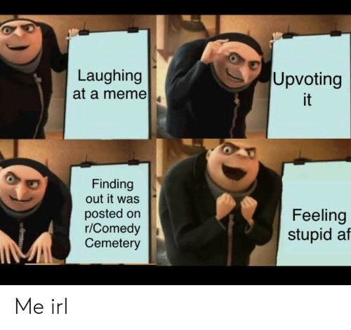 Af, Meme, and Comedy: Laughing  at a meme  Upvoting  it  Finding  out it was  posted orn  r/Comedy  Cemetery  Feeling  stupid af Me irl
