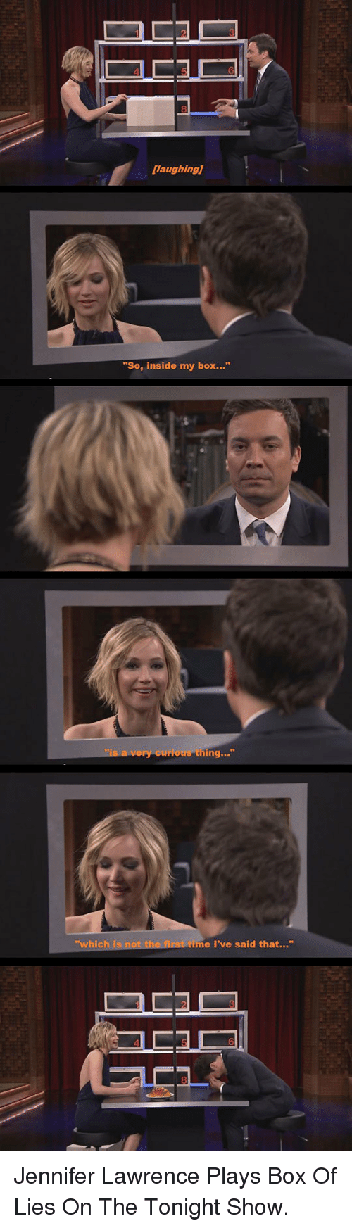 """Jennifer Lawrence, Box, and The Tonight Show: laughing]  """"So, inside my box.""""  whic  me I've said that..."""" <p>Jennifer Lawrence Plays Box Of Lies On The Tonight Show.</p>"""