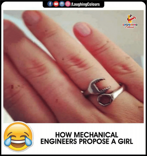 mechanical: LaughingColours  f  LAUGHING  Colowrs  HOW MECHANICAL  ENGINEERS PROPOSE A GIRL