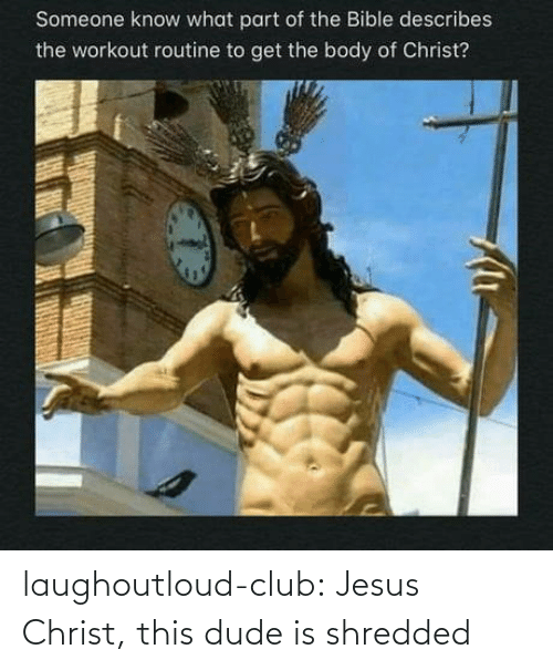 Christ: laughoutloud-club:  Jesus Christ, this dude is shredded