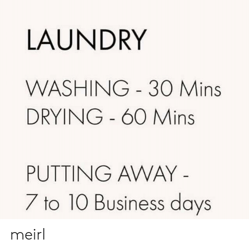 Laundry, Business, and MeIRL: LAUNDRY  WASHING 30 Mins  DRYING - 60 Mins  PUTTING AWAY -  7 to 10 Business days meirl