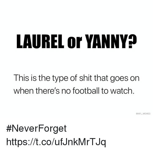 Neverforget: LAUREL or YANNY?  This is the type of shit that goes on  when there's no football to watch.  @NFL MEMES #NeverForget https://t.co/ufJnkMrTJq