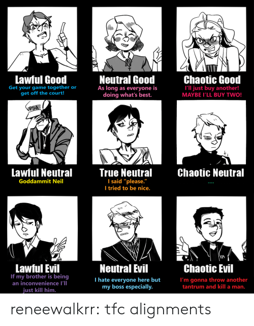 "Target, True, and Tumblr: Lawful Good  Neutral Good  As long as everyone is  doing what's best.  Chaotic Good  Get your game together or  get off the court!  I'll just buy another!  MAYBE I'LL BUY TWO!  PSU  Lawful Neutral  True Neutral  I said ""please.""  I tried to be nice.  Chaotic Neutral  Goddammit Neil  'EA  Lawful Evil  If my brother is being  an inconvenience I'll  Neutral Evil  Chaotic Evil  T hate everyone here but  my boss especially.  I'm gonna throw another  tantrum and kill a man.  just kill him. reneewalkrr:  tfc alignments"