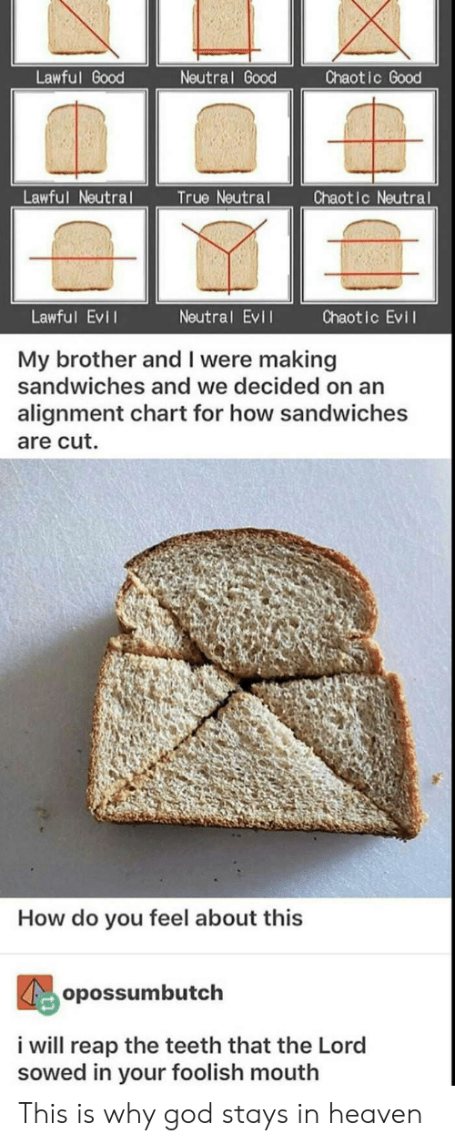Chaotic Evil: Lawful Good  Neutral Good  Chaotic Good  Lawful Neutral  True Neutral  Chaotic Neutral  Lawful Evil  Neutral EvI  Chaotic Evil  My brother and I were making  sandwiches and we decided on an  alignment chart for how sandwiches  are cut.  How do you feel about this  opossumbutch  i will reap the teeth that the Lord  sowed in your foolish mouth This is why god stays in heaven
