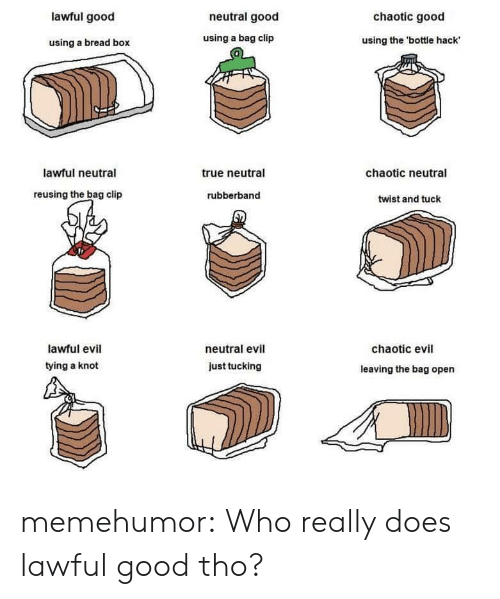 Chaotic Evil: lawful good  neutral good  chaotic good  using a bread box  using a bag clip  using the 'bottle hack  0  lawful neutral  true neutral  chaotic neutral  reusing the bag clip  rubberband  twist and tuck  lawful evil  tying a knot  neutral evil  chaotic evil  just tucking  leaving the bag open memehumor:  Who really does lawful good tho?