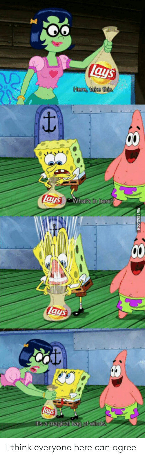 Winds: lays  Here, take this  lays What's in fhere?  Lays  lays  It's a magical bag of winds  VIA 9GAG.COM I think everyone here can agree