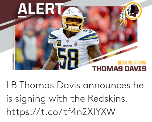 davis: LB Thomas Davis announces he is signing with the Redskins. https://t.co/tf4n2XIYXW