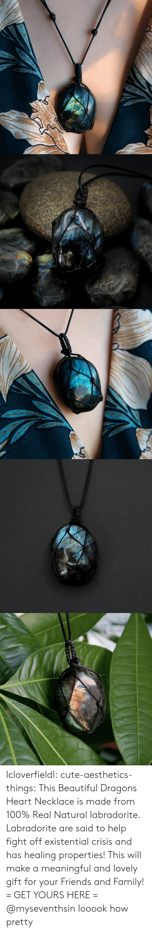 Anaconda, Beautiful, and Cute: lcloverfieldl: cute-aesthetics-things:  This Beautiful Dragons Heart Necklace is made from 100% Real Natural labradorite. Labradorite are said to help fight off existential crisis and has healing properties! This will make a meaningful and lovely gift for your Friends and Family! = GET YOURS HERE =   @myseventhsin looook how pretty