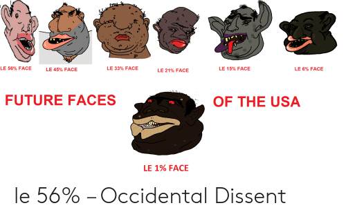 Occidental Dissent: LE 56% FACE  LE 33% FACE  LE 15% FACE  LE 6% FACE  LE 45% FACE  LE 21% FACE  FUTURE FACES  OF THE USA  LE 1% FACE le 56% – Occidental Dissent
