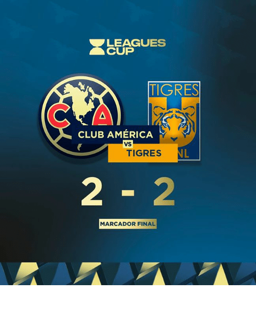 Tigres: LEAGUES  CUP  TIGRES  CLUB AMÉRICA  VS  NL  TIGRES  2-2  MARCADOR FINAL 𝙼𝙰𝚁𝙲𝙰𝙳𝙾𝚁 𝙵𝙸𝙽𝙰𝙻