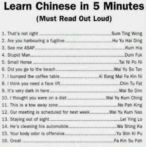 Towing: Learn Chinese in 5 Minutes  (Must Read Out Loud)  2. Are you harbouring a fugtive .....Hu Yu Hai Ding  3. See me ASAP Kum Hia  6. Did you go to the beach.....Wai Yu So Tan  7. I bumped the coffee table................Ai Bang Mai Fa Kin Ni  8. I think you need a face lift Chin Tu Fat  10. I thought you were on a diet...........Wai Yu Kum Ching  11. This is a tow away zone............................... No Pah King  12. Our meeting is scheduled for next week...Wai Yu Kum Nao  14. He's cleaning his automobile....Wa Shing Ka  15. Your body odor is offensive............................u Stin Ki Pu  16. Great Fa Kin Su Pah