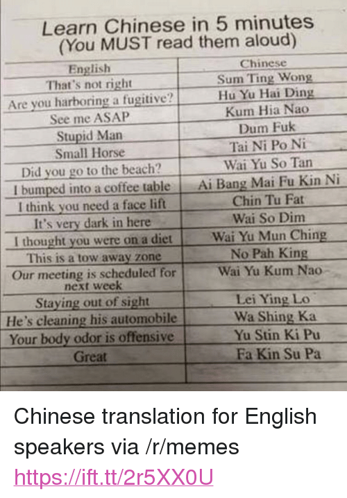 """pah: Learn Chinese in 5 minutes  (You MUST read them aloud)  English  Chinese  That's not right  Sum Ting Wong  Are you harboring a fugitive?Hu Yu Hai L  Kum Hia Nao  Dum Fuk  Tai Ni Po Ni  Wai Yu So Tan  See me ASAP  Stupid Man  Small Horse  Did you go to the beach?  I bumped into a coffee table Ai Bang Mai Fu Kin Ni  I think you need a face lift  It's very dark in here  Chin Tu Fat  Wai So Dim  I thought you were on a dietWai Yu Mun Ching  This is a tow away zone  Our meeting is scheduled for  No Pah King  Wai Yu Kum Nao-  next week  Staying out of sight  He's cleaning his automobile  Your body odor is offensive  Lei Ying Lo  Wa Shing Ka  Yu Stin Ki Pu  Great  Fa Kin Su Pa <p>Chinese translation for English speakers via /r/memes <a href=""""https://ift.tt/2r5XX0U"""">https://ift.tt/2r5XX0U</a></p>"""