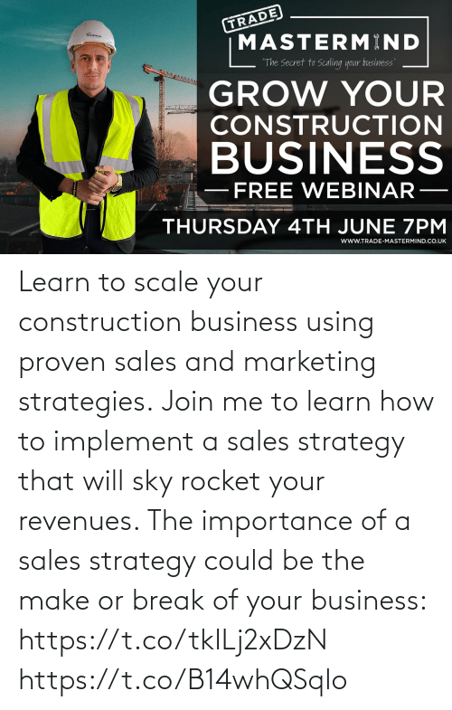 join.me: Learn to scale your construction business using proven sales and marketing strategies.  Join me to learn how to implement a sales strategy that will sky rocket your revenues. The importance of a sales strategy could be the make or break of your business: https://t.co/tkILj2xDzN https://t.co/B14whQSqlo